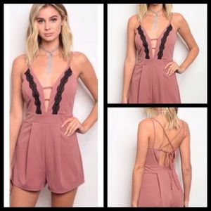 Criss Cross Back Sexy Sleeveless Mauve Romper